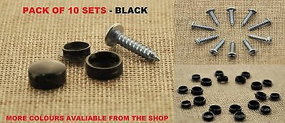 10 Pcs SELF TAPPING SCREWS AND CAPS FITTING CAR NUMBER PLATE FIXING KIT - BLACK