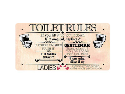 WP_BATH_006 FUNNY TOILET RULES SIGN - Metal Wall Plate