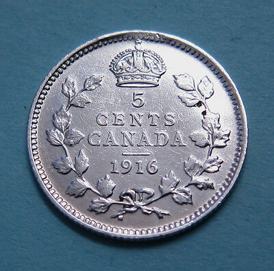 Canada 5 cents silver - 1916 - NICE!