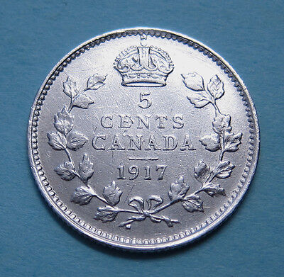 Canada 5 cents silver - 1917 - NICE!