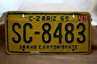 1969 Arizona # SC-8483/ C-2 License Plate / Grand Canyon State / Yellow