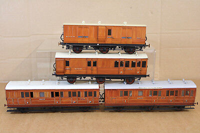 LAWRENCE SCALE MODELS O GAUGE KIT BUILT MIDLAND M&GN RAKE of 4 COACH nk