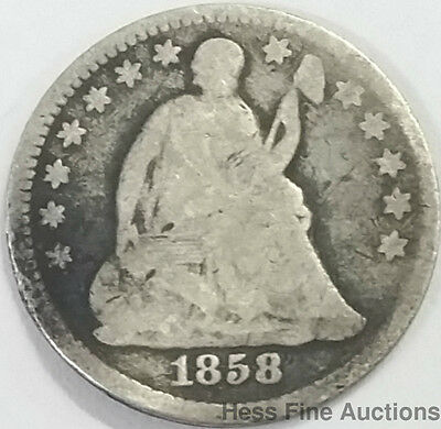 1858 Liberty Seated Half Dime US Mint United States American Silver Coin