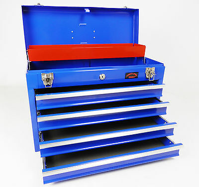 Blue Large Lightweight Tool Chest With Key Lock And 4 Draws