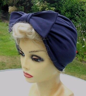 VINTAGE INSPIRED 1940's 1950's STYLE  NAVY BLUE TURBAN HAT WWII LINDYHOP SWING