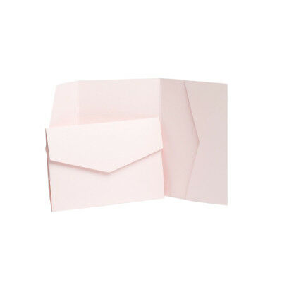 Baby Pink Pearlescent Pocketfold Wedding Invites with envelopes. Invitation Card