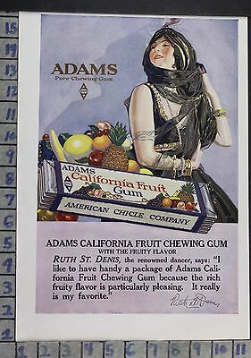 1918 Chicle Adams Ruth St. Denis Gum Company Dance Kitchen Vintage Ad Dn93