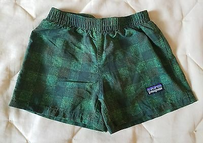 Infant Baby Boy PATAGONIA Green Plaid Swim Trunks Bathing Suit 6 month