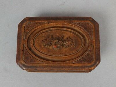 Charming Antique 19c Victorian Era Carved Walnut Double Stamp Box