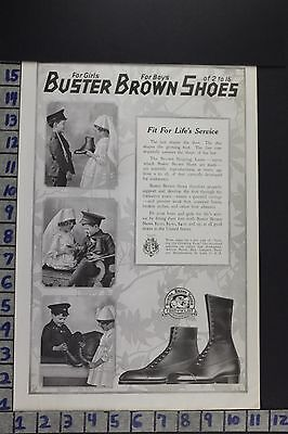 1918 Fashion Shoes Buster Brown Boys Girls Boots Footwear Vintage Ad Eb001