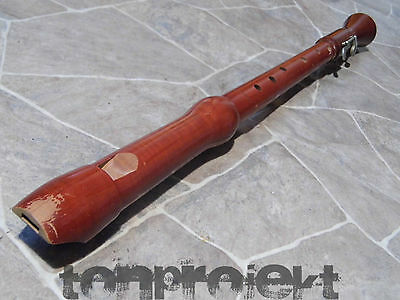 fine vintage HERRNSDORF quality TENOR Recorder baroque fingering + flap Germany