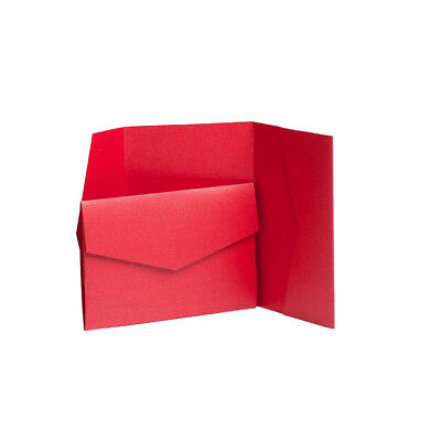 Bright Red Pearlescent Pocketfold Invites with envelopes. Wedding Invitations