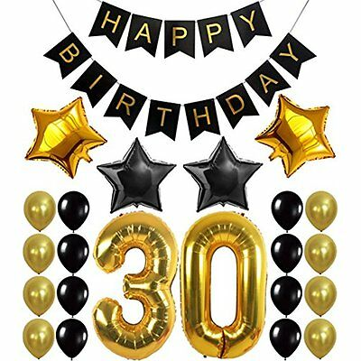 30th BIRTHDAY PARTY DECORATIONS KIT - Happy Birthday Banner, 30th Gold Number 30