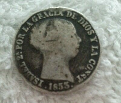 Spanish 1853 Isabel 4 Real Silver Coin.   (D3)