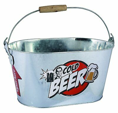 Out of the Blue oval Metal Beer Ice Cube Bucket, Silver