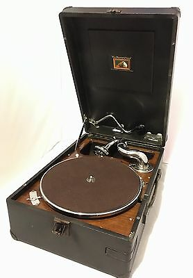 Antique Vintage HMV Portable Wind Up Gramophone Record Player Model 102