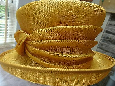 Stunning Gold Mother of Bride Formal Hat Wedding Derby Ascot Races