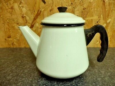 FRENCH VINTAGE SHABBY CHIC ENAMEL COFFEE POT TEAPOT by Japy (ref 33)