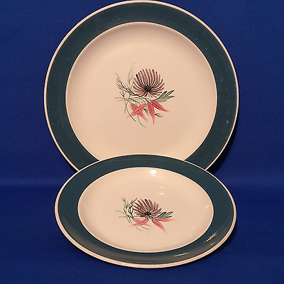 """Vintage SUSIE COOPER - BLUE DAHLIA - Lunch Plate (9"""") & Side Plate (6.75"""")"""