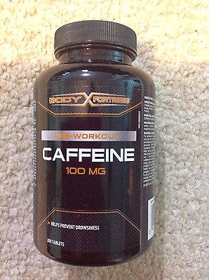 Caffeine pills 100 mg x 200 tablets by Body fortress