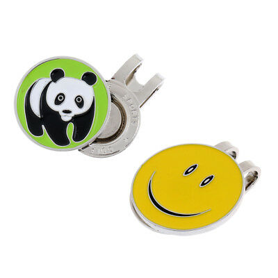 Alloy Panda Smile Face Magnetic Visor & Hat Clip with Golf Ball Marker, 2Pcs