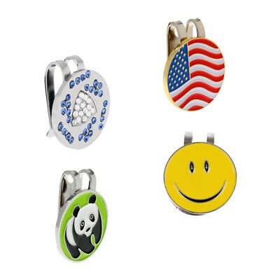 Alloy Assorted Patterns Magnetic Visor & Hat Clip with Golf Ball Marker,4Pcs