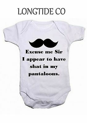 Excuse me Sir  I appear to have shat Baby Grow Bodysuit Vest Top Unisex Gift