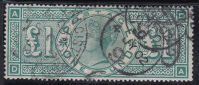 Sg212 Qv £1.00 Green Good Used 3 Crested Circle Postmarks