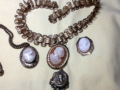 Collection of 4 CAMEOs,  2 are LOCKETS, One Filigree Necklace, Nice lot