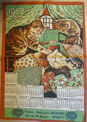 Calendrier tissus 1982 Mercerie JACQUES (Nancy) - Chats