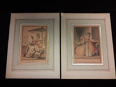 Pair of Antique Print-Hand Colored Etchings Laurent Guyot