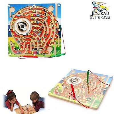 G4RCE Wooden Puzzles Magnet Beads Slot Maze Board Game Magnetic Pen Elephant ToY