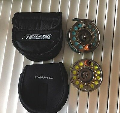 Pfleuger Trion #7/8 Fly Reel With Case & Spare Spool Loaded With Fly Line