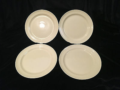 """Vintage TS&T Lu-Ray Pastels (4) 9-1/4"""" Yellow Dinner Plates - VG Condition USA"""