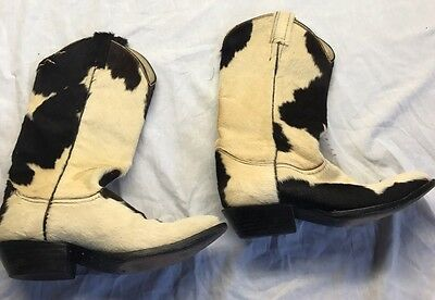 Remington Boot Company Boots Cowboy White Black Brown Cow Hair Hide Used 6.5 B
