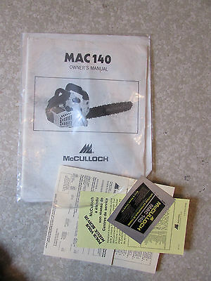 Mac 140 Owners Manual McCulloch Chainsaw