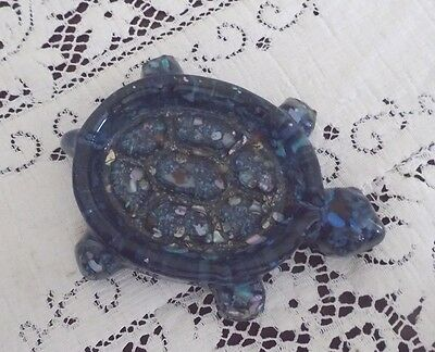 DePoe Bay Oregon Souvenir Blue Turtle Shell Soap Trinket Dish