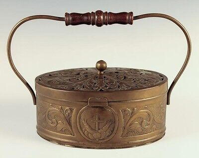 Antique Estate Found Early 20c Pierced Brass South American Box W Handle