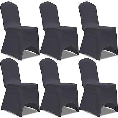 6 Removable Stretch Chair Seat Cover Party Wedding Banquet Conference Anthracite