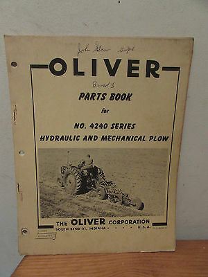 Original Oliver Parts Manual 4240 Hydraulic & Mechanical Plow