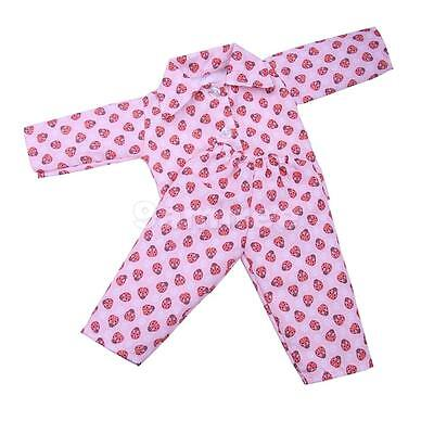 Pajamas PJS Clothes Pink Ladybug for 18'' American Girl Our Generation Doll