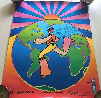 1995 Autographed Peter Max Signed Poster w/ added doodle - Dancing Man on Earth