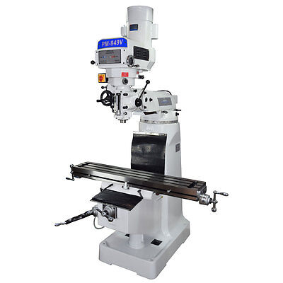 Pm-949Tv Vertical Knee Mill Milling Machineultra High End Variable Speed 1 Phase