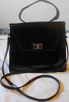 Vintage Virginia Slims V Wear Black Faux Patent Leather Purse Handbag Crossbody