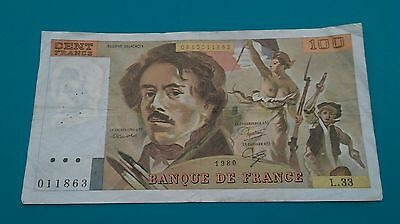 1980 FRANCE100 Francs. BANKNOTE. Xf