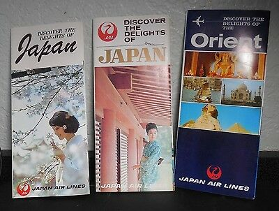 Lot Of 3 1960's Jal Japan Air Lines Travel Brochures