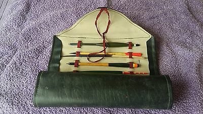 """22 Vintage Fishing Floats Contained In """"roll Up"""" Wallet"""