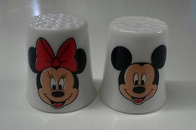 Set of 2 Mickey & Minnie Mouse Collectible Porcelain Thimbles