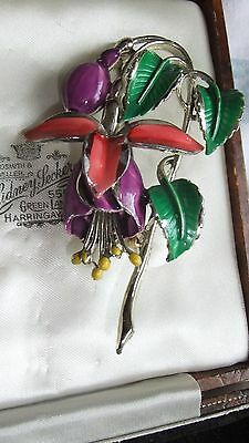 Vintage Signed Exquisite Birthday Series Enamel FUCHSIA July Flower Brooch / Pin