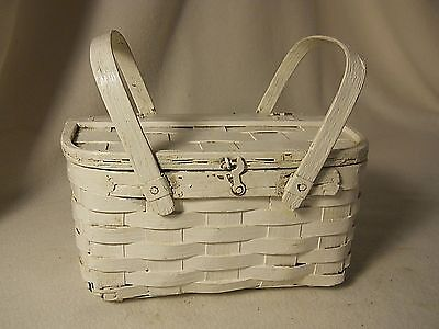 Old Small Basket-Wood Basketweave WHITE Painted Basket with Handles-PRIMITIVE